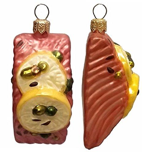 Pinnacle Peak Trading Company Slice of Salmon with Lemon Polish Glass Christmas Ornament Set of 2 Decorations