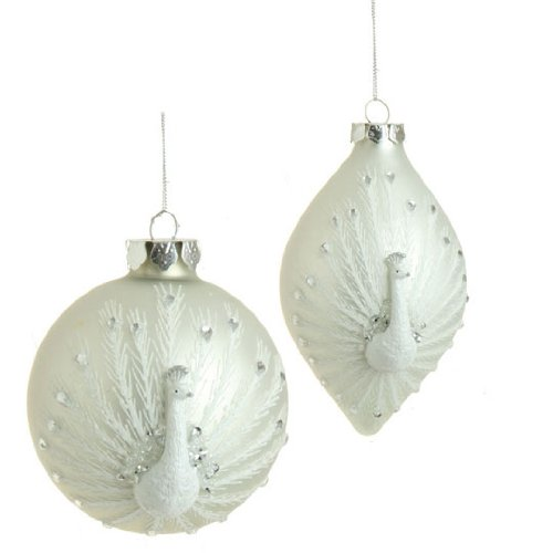 RAZ Imports – 4″ Peacock Christmas Tree Ornaments – (Set of 2)