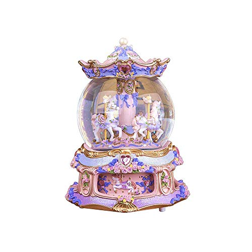 YOUDirect Rotate Music Box Carousel Crystal Ball Snow Globe with Castle in The Sky Tune and Light Up Color Changing Perfect for Birthday Gift Valentine's Day (Purple)