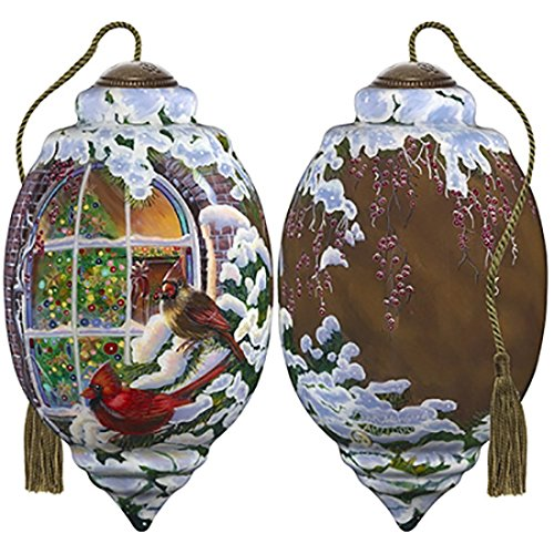 Ne'Qwa Art Hand Painted Blown Glass Christmas Window Ornament Cardinals