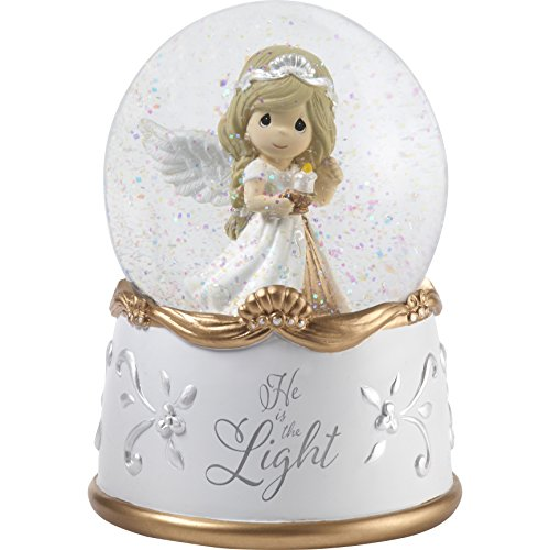 """Precious Moments""""He Is The Light Angel Resin & Glass Musical Snow Globe, Multicolor"""