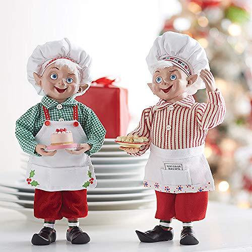 RAZ Imports SET OF 2 Raz 10″ Kitchen Baker Elves Christmas Figures 3815538