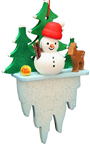 Alexander Taron 10-0625 Christian Ulbricht Ornament – Snowman on Icicle – 3″ H x 1.75″ W x .75″ D Gray