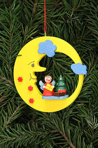 Tree ornaments Tree ornament Angel with tree in moon – 8,3×7,9cm / 3.3×3.1inch – Christian Ulbricht