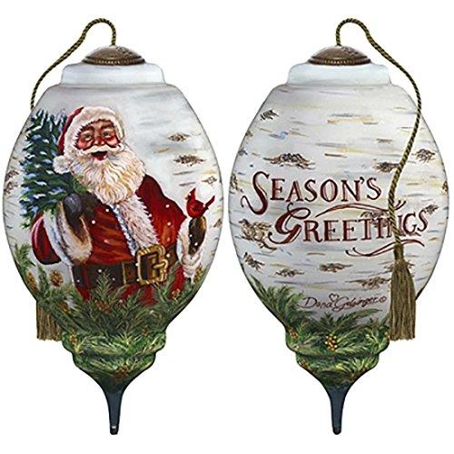 Ne'Qwa Art Hand Painted Blown Glass Winter Birch Santa Ornament, Claus