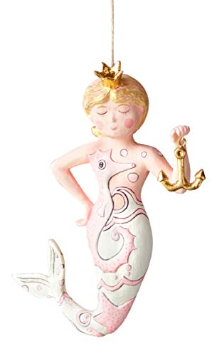Glitterville Mermaid Nautical Christmas Tree Ornament, Gold Accents, 6″ Long