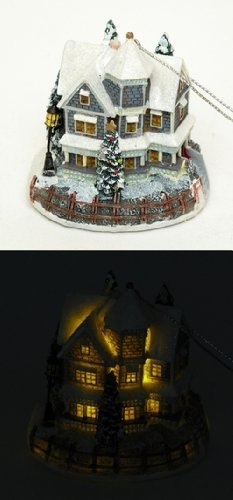 Lighted Christmas House Decorative Statue Snow Covered Roofing Xmas Tree Tabletop Ornament Home Faith Love Unity Party Holiday Season Collectible Contemporary Figurine Accent