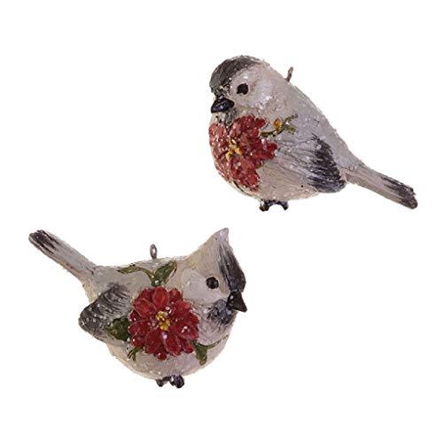 Raz Chickadee with Poinsettia Ornament 2 Assorted