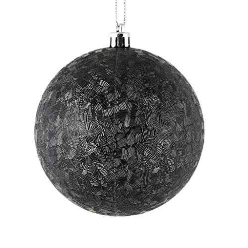 Vickerman 573815-4″ Black Brushed Ball Christmas Tree Ornament (6 pack) (N189117D)
