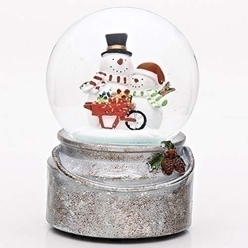Snowman Friends Wheelbarrow 6 x 4 inch Glitterdome Plays Tune Winter Wonderland