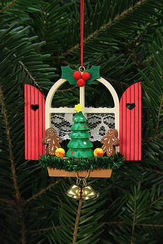 Tree ornaments Tree Ornaments Advent Window with Gingerbread – 7,6×7,0cm / 3×3 inch – Christian Ulbricht