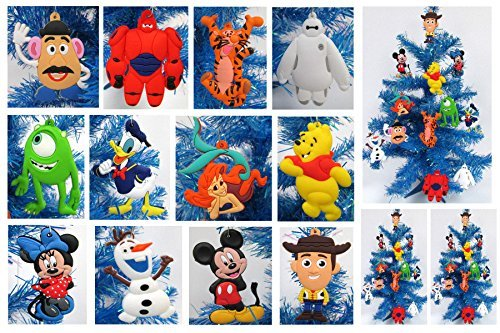 Disney 12 Piece Christmas Ornament Set with Woody, Pooh Bear, Tigger, Baymax, Ariel, Mickey Mouse, Minnie Mouse, Olaf & More – Unique Shatterproof Plastic Design