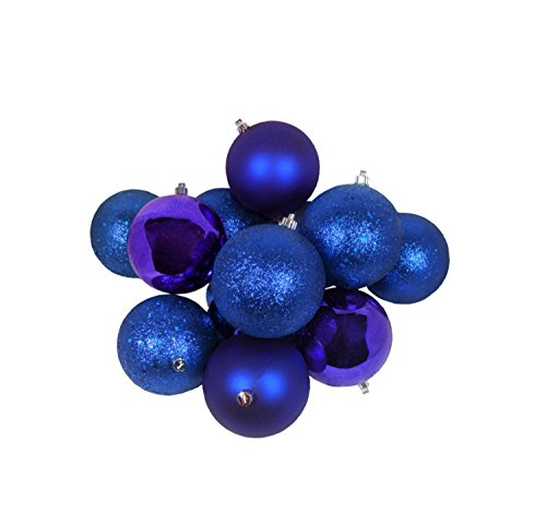 32ct Royal Blue Shatterproof 4-Finish Christmas Ball Ornaments 3.25″ (80mm)