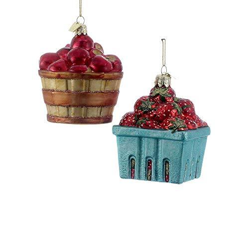 Kurt Adler 3.5-Inch Noble Gems Glass Fruit Basket Ornament Set of 2