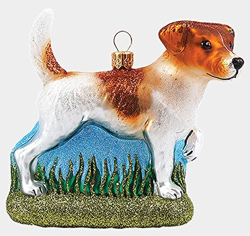 Pinnacle Peak Trading Company Jack Russell Terrier Dog Polish Mouth Blown Glass Christmas Ornament Decoration