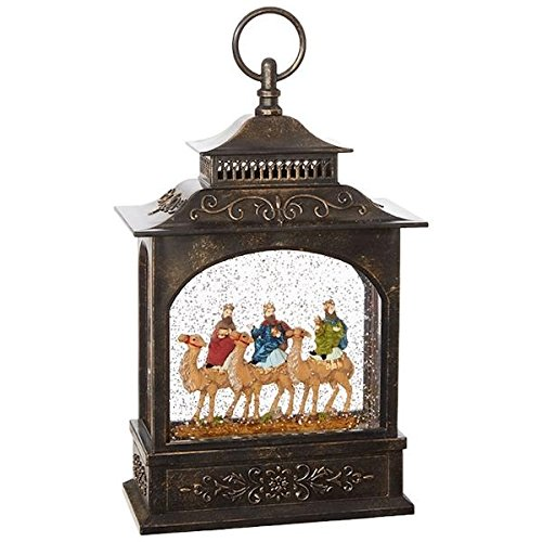 The 3 Wisemen Nativity Lighted Water Lantern with Swirling Glitter, 11 Inch