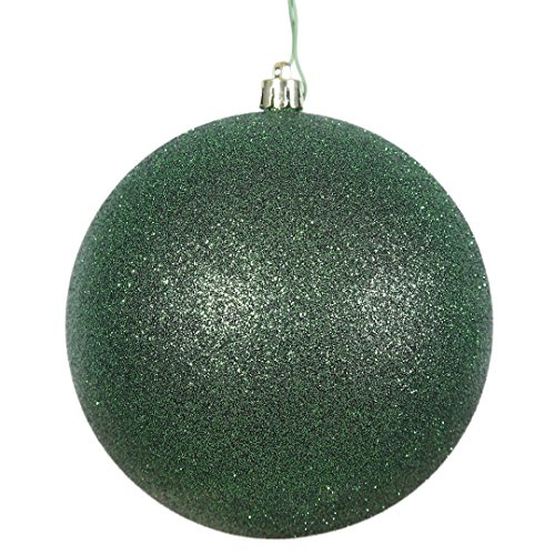 Vickerman N591024DG Glitter Ball Ornaments with Shatterproof UV Resistant, Pre-drilled Cap Secured & 6″ of Green Floral Wire in 6 per Bag, 4″, Emerald