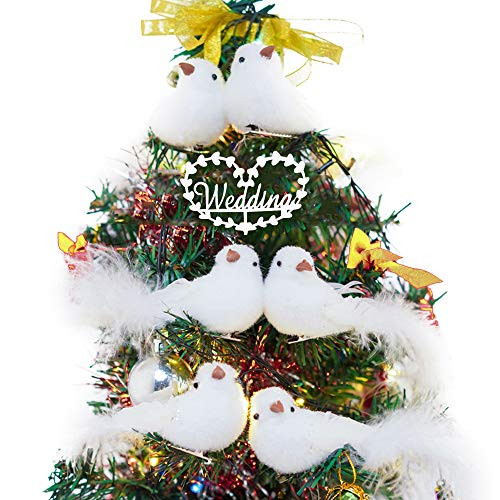 LONGBLE Beautiul Mini White Birds Decorative Fake Doves Brushy Bird with Long Tail for Home Ornaments and Wedding Decor 6Pcs/Set Clips Design