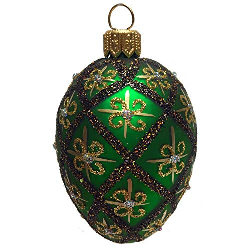 Pinnacle Peak Trading Company Mini Green Gold and Black Faberge Inspired Egg Polish Glass Christmas Ornament