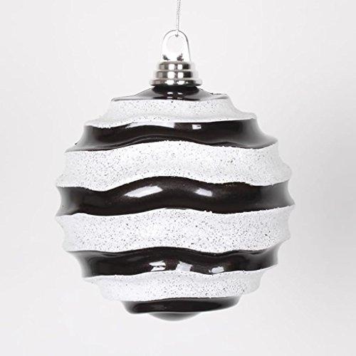 Vickerman 6″ (150mm) Classic Black and White Glitter Wave Shatterproof Christmas Ball Ornament