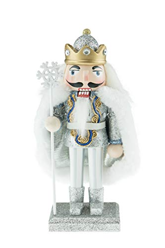 Clever Creations Chubby Snow King Nutcracker with Snowflake Staff | Sparkly Platform Holds a Royal King Wearing a Glittery Diamond Studded Crown with Fitting Cape | 100% Wood | Stands at 7″ Tall