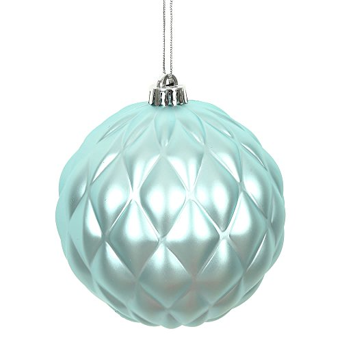 Vickerman N173232D 4 in. Baby Blue Matte Round Pinecone Christmas Ornament – 6 per Bag