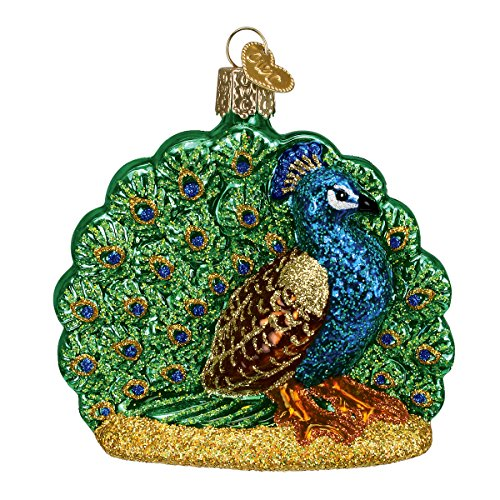 Old World Christmas Ornaments: Proud Peacock Glass Blown Ornaments for Christmas Tree