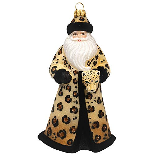 Joy to the World Collectibles Glitterazzi Leopard Santa Polish Glass Christmas Ornament