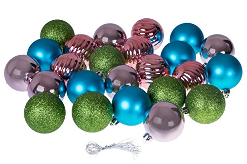 Clever Creations Christmas Ornaments Variety Set | Blue, Pink, Green Christmas Decor Theme | 24 Pack | Glitter, Gloss, Mirror Ball Textures Shatter Resistant Plastic | 60mm Round Ornaments