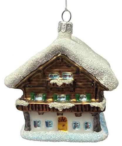 Pinnacle Peak Trading Company Swiss Ski Chalet Winter Cottage Polish Glass Christmas Tree Ornament Decoration
