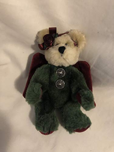 5″ Jointed Boyds Green Angel Bear Arinna Ornament with Burgundy Wings
