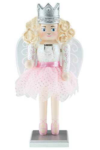 Clever Creations Sugar Plum Fairy Nutcracker | Festive Christmas Decoration | Traditional Fairy Nutcracker with Pink Tutu and Ballerina Shoes | Stands at 10″ Tall with Clear and Silver Wings