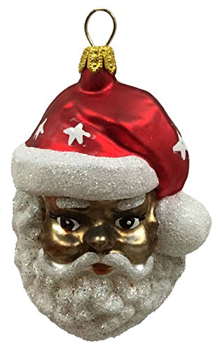Pinnacle Peak Trading Company African American Santa Claus Face Polish Glass Christmas Ornament Decoration