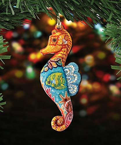 G. Debrekht Christmas Ornaments – Sea Life Wooden Christmas Tree Ornaments – Christmas Decorations for Holiday (Seahorse)
