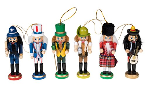 Clever Creations Wooden Christmas Nutcracker Ornaments Variety 6 Pack | Festive Decorations | 5″ Tall Perfect for Christmas Trees | Police, Uncle Sam, Irish, German, Scottish, and Mariachi