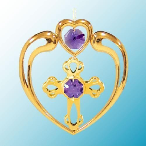 24k Gold Cross in Heart Ornament – Purple Swarovski Crystal