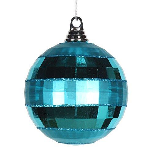 Vickerman M151612 Plastic Shiny Matte Mirror Ball with Matching Glitter, 5.5″, Teal