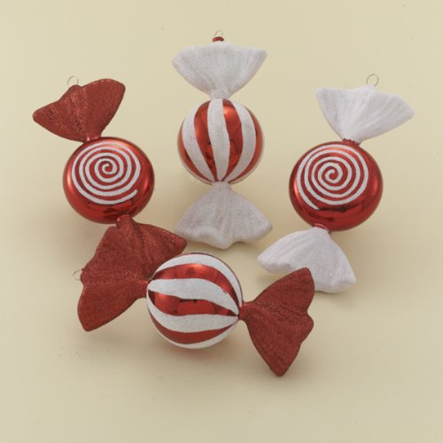 6″ RED/WHITE CANDY ORNAMENT SET OF 4