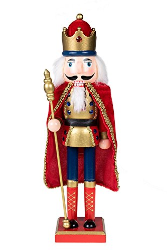 Traditional King Nutcracker by Clever Creations | Gold and Red Uniform | Jeweled Crown | Holding Gold Scepter | Collectible Wooden Christmas Nutcracker | Festive Holiday Decor | 100% Wood | 15″ Tall