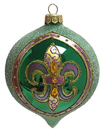 Pinnacle Peak Trading Company Mardi Gras Green and Purple Fleur de Lis Beetroot Shape Polish Glass Ornament