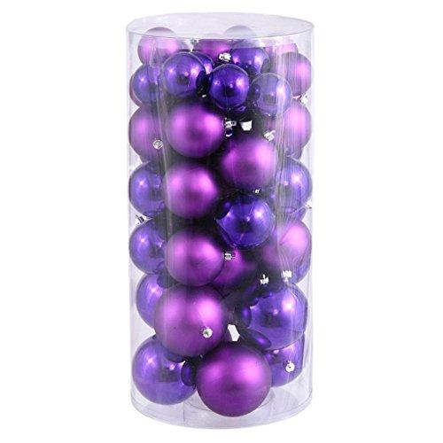 Vickerman 247174 – 1.5″ / 2″ Purple Shiny Matte Ball Christmas Tree Ornament (50 pack) (N112206A)