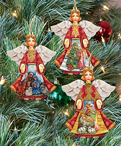 Angels Christmas Keepsake Wooden Ornaments Set of 3 8100029S3