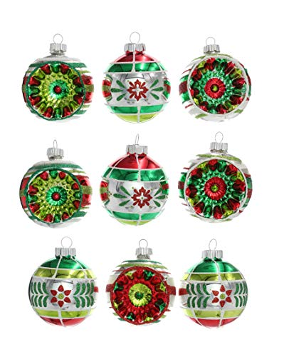 Christopher Radko Holiday Splendor 2.5″ Set of 9 Decorated Round Glass Ornaments with Reflectors