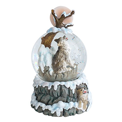 Howling Wolf 100MM Resin Stone 3D Musical Water Globe Plays Tune Born Free