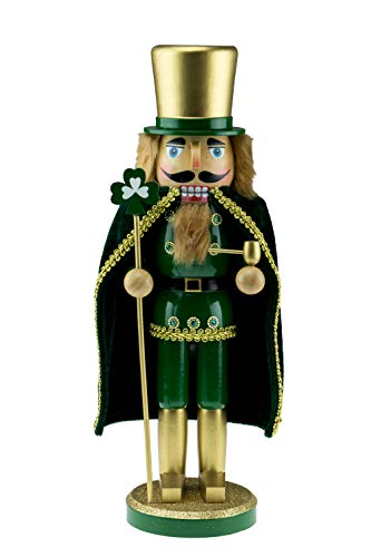 Clever Creations Wooden Irish Nurcracker with Staff | Green & Gold Irish Nutcracker with Shamrock & Pipe | Festive Traditional Christmas Decor | 14″ Tall Perfect for Shelves and Tables | 100% Wood