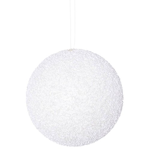 Vickerman 532232-6″ White Beaded Ball Christmas Tree Ornament (4 pack) (N185811D)