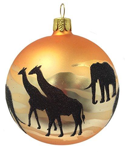 Pinnacle Peak Trading Company African Savannah Animals Ball Czech Glass Christmas Ornament Africa Elephant