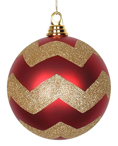 Vickerman Red Matte with Gold Glitter Chevron Commercial Size Christmas Ball Ornaments 6″ (150mm)