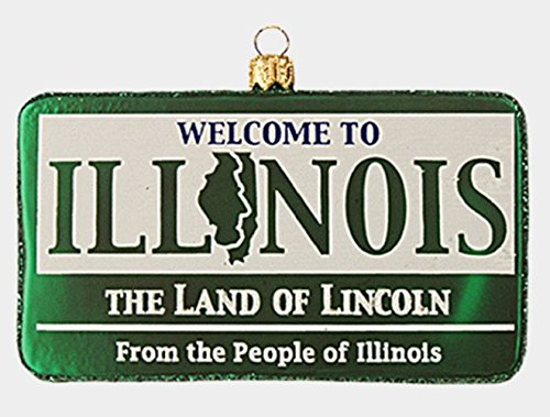 Pinnacle Peak Trading Company Welcome to Illinois State Sign Polish Glass Christmas Ornament Decoration Poland