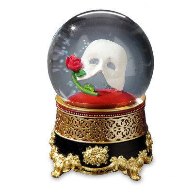 Phantom of the Opera Classic Mask with Rose Water Globe by The San Francisco Music Box Company